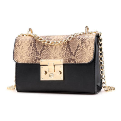 Snake Skin Chain Shoulder Bag